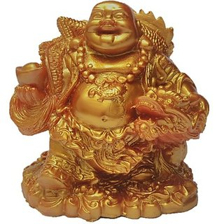 Feng Shui Laughing Buddha Showpiece  -  12 cm (Polyresin Gold)