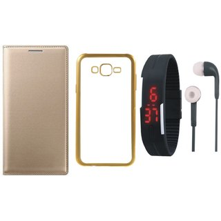 Redmi Note 4 Premium Leather Finish Flip Cover with Free Silicon Back Cover, Digital Watch and Earphones