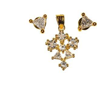 Golden White Stone Pendate Plus Earrings