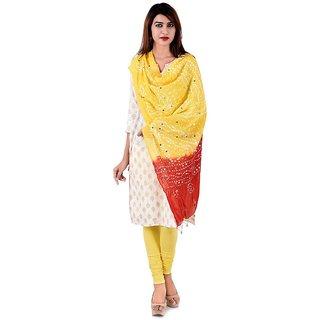 Halowishes Red Yellow Tie n Dye Pure Cotton Jaipuri Dupatta