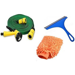 Special Combo of Microfiber Glove / Water Spray gun / Glass Cleaner Scraper