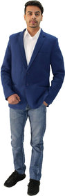 Matelco Men's Blue Slim Fit Casual Buttoned Coat With latest Stretch Fabric L