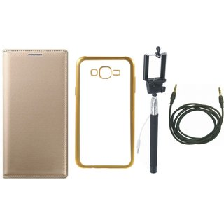 Redmi Note 4 Premium Leather Finish Flip Cover with Free Silicon Back Cover, Selfie Stick and AUX Cable