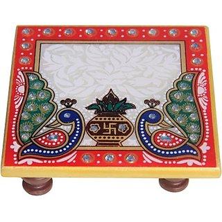 KESAR ZEMS Handicrafts  Puja Marble Pooja Chowki