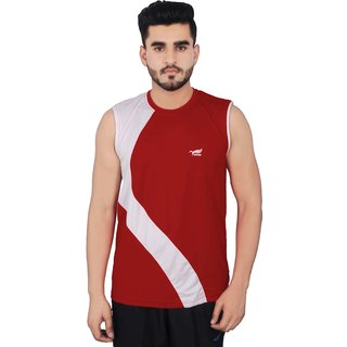 NNN Men's Red T-shirt Fitness Gym Cardio Round Neck Sports T-shirt
