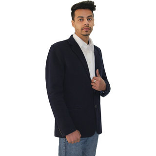 Matelco Mens Navy Blue Slim Fit Party Casual Buttoned Coat With Latest Stretch Fabric L