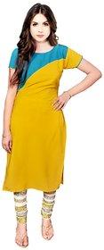 Aiza collection yellow stitched crepe designer kurti