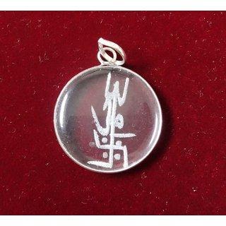 KESAR ZEMS Sphatik Pendant with engraving - Trishul Om and Swastik  KZMP008