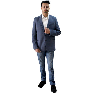 Matelco Men's Grey Slim Fit Party, Casual Buttoned Coat With latest Stretch Fabric L