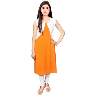 Aiza Collection   orange  stitched crepe designer kurti