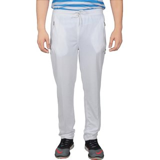 NNN Mens White Track Pant Fitness Gym Dryfit Full Length Sports Track Pant