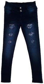 Damage straight fit dark blue jeans
