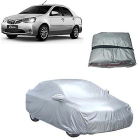 Trigcars Toyota Etios New Car Body Cover Silver Silver with Mirror Pockets