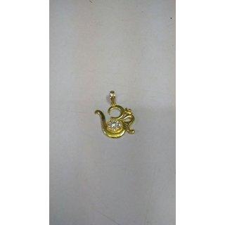 KESAR ZEMS White Cubic Zirconia Gold Plated Brass Om Shape Pendant