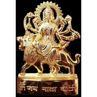 KESAR ZEMS Gold Plated Durga Idol - 2.9 inches