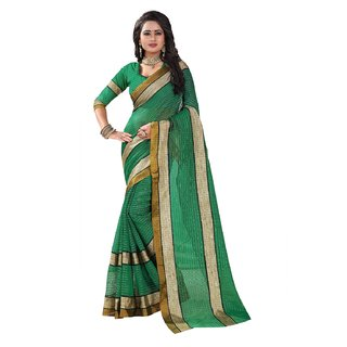 B Online Mart Green Color Poly Cotton Printed Saree -BO320SGreenPC-266
