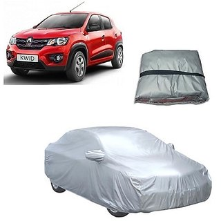 Trigcars Renault Kwid Car Body Cover Silver with Mirror Pockets