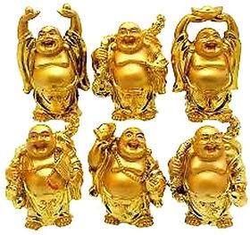 KESAR ZEMS Feng Shui Golden Set Of Laughing Buddha 6 Pc Set