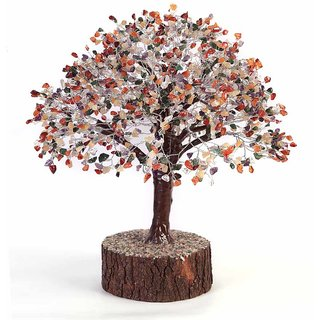 KESAR ZEMS Divine Soul Retreat Abundance Crystal Luck Tree  (Multi Colour)