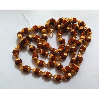 KESAR ZEMS Rudraksha Mala With Gold Plated Cap - Rudraksha Mala For Jaap - Premium