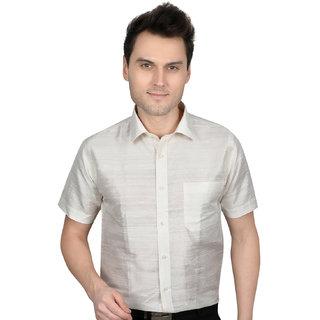All season Raw Silk Cream men fitting shirt