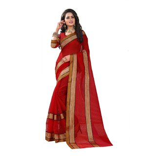 B Online Mart Red Color Poly Cotton Printed Saree -BO321SRedPC-267