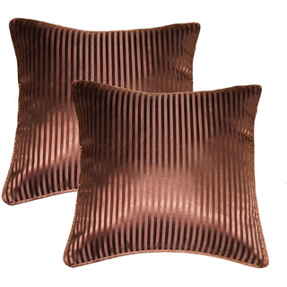 Lushomes chocolate contemporary stripped cushion cover with plain piping, 12 x 12(Pack of 2) Torantina Collection