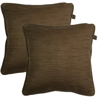 Lushomes Matka Silk Pack of 2 Brown Cushion Covers (20