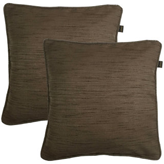 Lushomes Matka Silk Pack of 2 Brown Cushion Covers (16
