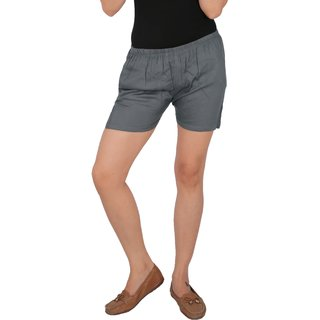 Culture the Dignity Women's Solid Rayon Shorts With Side Pockets - Grey - C_RSHT_G1 - Free Size