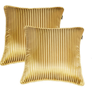 Lushomes gold contemporary stripped cushion cover with plain piping, 16 x 16(Pack of 2) Torantina Collection