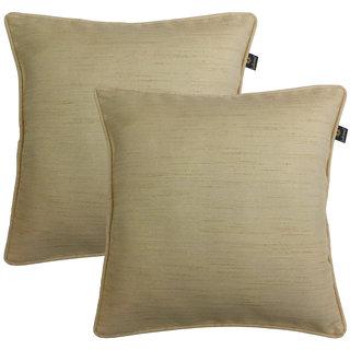 Lushomes Matka Silk Pack of 2 Beige Cushion Covers (12