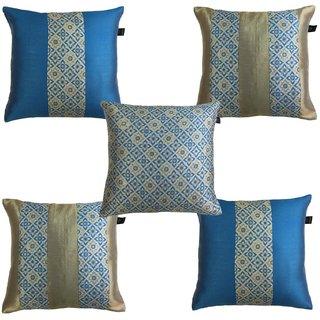 Lushomes Jacquard Campanula Design 1 Cushion Cover set for any celebration.(Pack of 5, 40 x 40 cms)