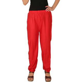 Culture the Dignity Women's Rayon Solid Casual Pants Office Trousers With Side Pockets - Red - C_RPT_R - Free Size