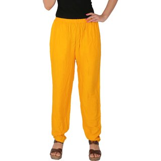 Culture the Dignity Women's Rayon Solid Casual Pants Office Trousers With Side Pockets - Yellow - C_RPT_Y - Free Size