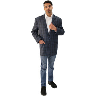 Matelco Men's Blue Check Regular Fit Casual Buttoned Wool Coat
