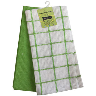 Lushomes Lime Green Waffle Kitchen Towel (Pack of 2), Size: 15