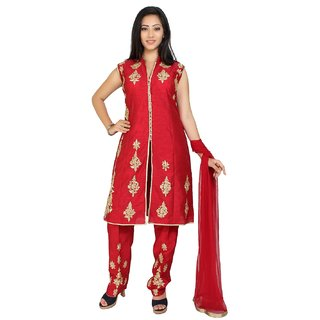 Embroidered Dupion Silk Pakistani Suit in Red