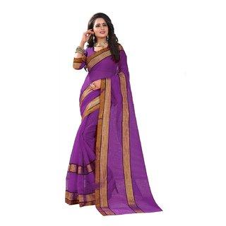 B Online Mart Purple Color Poly Cotton Printed Saree -BO322SPurplePC-268