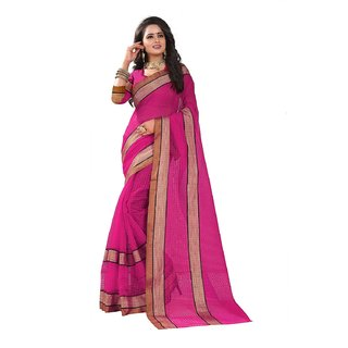 B Online Mart Pink Color Poly Cotton Printed Saree -BO323SPinkPC-269