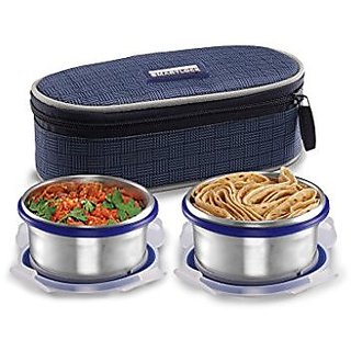 Smart lock Classic Steel Airtight Tiffin pack with insulated Bag 200 ml Silver Set of 2