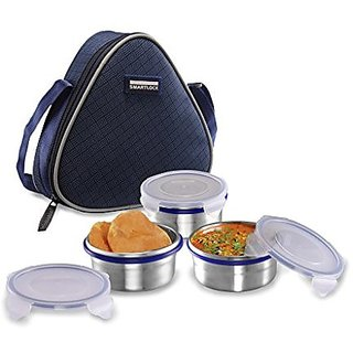 Smart lock Classic Steel Airtight Tiffin pack with insulated Bag 200 ml Silver Set of 3