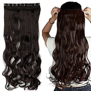 Curly Synthetic 5 Clip Pin curly Hair Extension (black ,brown)