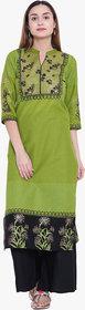 Varkha Fashion Women's Green Block Print Long Straight Stitched Kurti