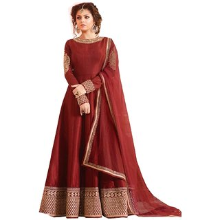 1f3d7e985102 Designer Maroon Color Banglory Silk Embroidered Semi Sttiched Anarakali Gown  By Omstar fashion (MADHU MAROON