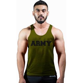 GymX Mens Cotton Army- Classic Stringer:Army Green Sando