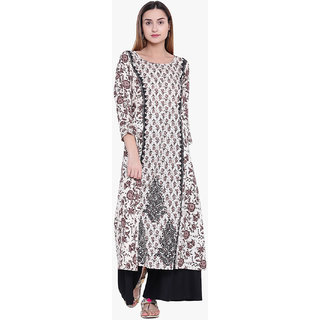 Varkha Fashion Women's Cream Floral Long A-line Stitched Kurti