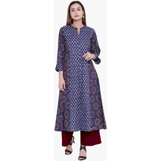 Varkha Fashion Women's Blue Printed Long A-line Stitched Kurti