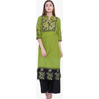 Varkha Fashion Women's Green Block Print Long Straight Stitched Kurti