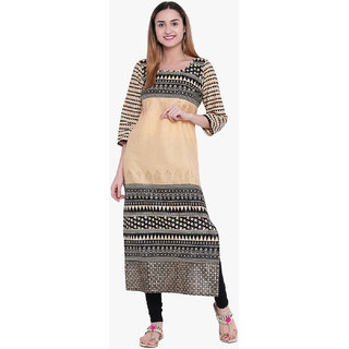 Varkha Fashion Women's Beige Graphic Print Long Straight Stitched Kurti